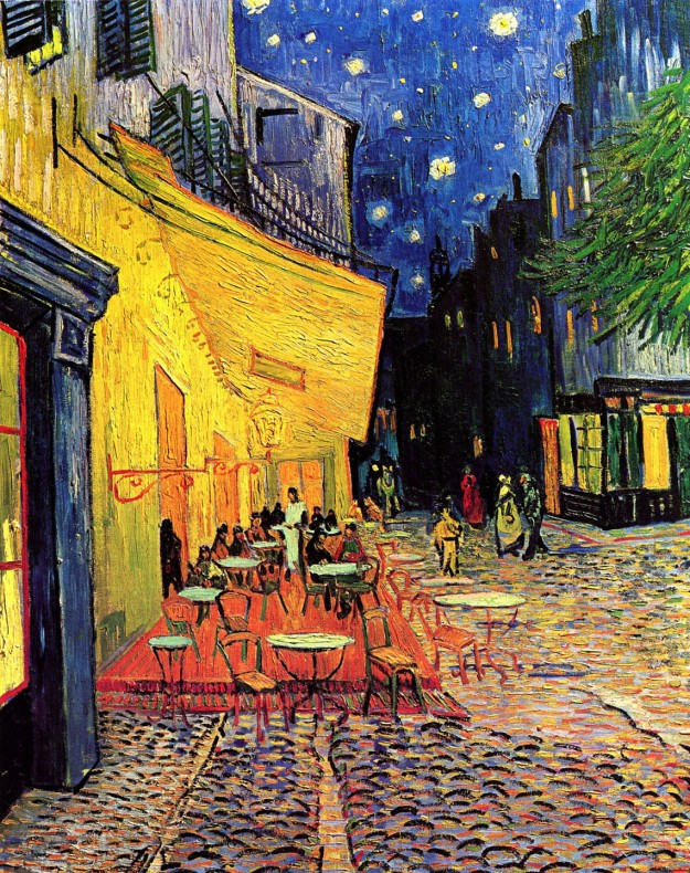 Wish we were there: cafe terrace on the Place du Forum in Arles at night
